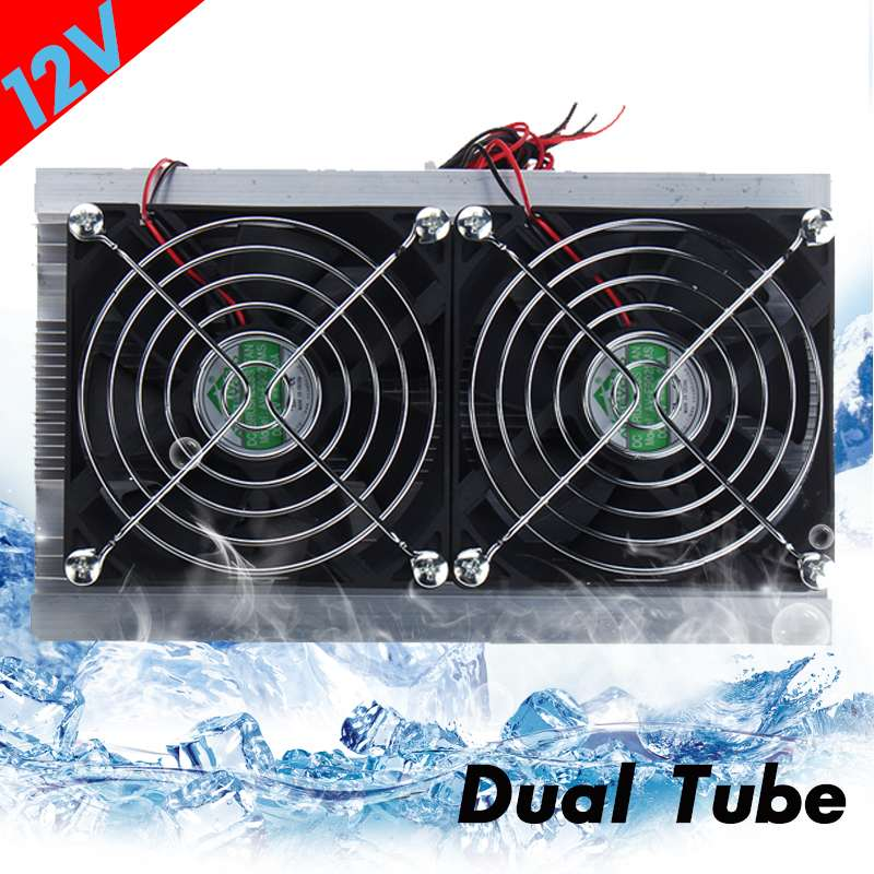 12V Thermoelectric Peltier Refrigeration Cooling Fan System Kit Double Fan Cooler DIY Computer Fridge Part