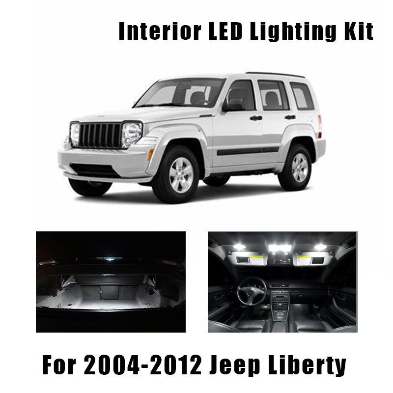 13pcs White Canbus Bulbs Car LED Interior Light Kit Fit For Jeep Liberty 2004-2010 2011 2012 Map Dome Door Trunk License Lamp