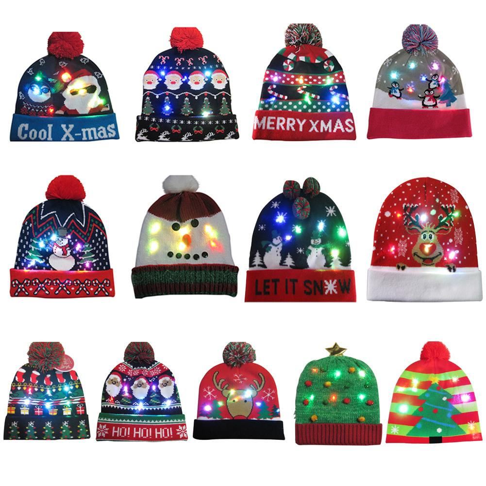 Christmas Hat LED Light Cartoon Santa Claus/Elk/Snowman Xmas Cap And Glowing Warm Scarf For Adult Kids Christmas Party Props