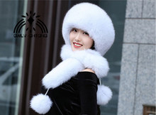 Genuine fox fur Hat Women rex rabbit fur Cap scarf Thicken Fur Cap Winter Warm Female Warm winter Hat Fashion Russia scarves(China)