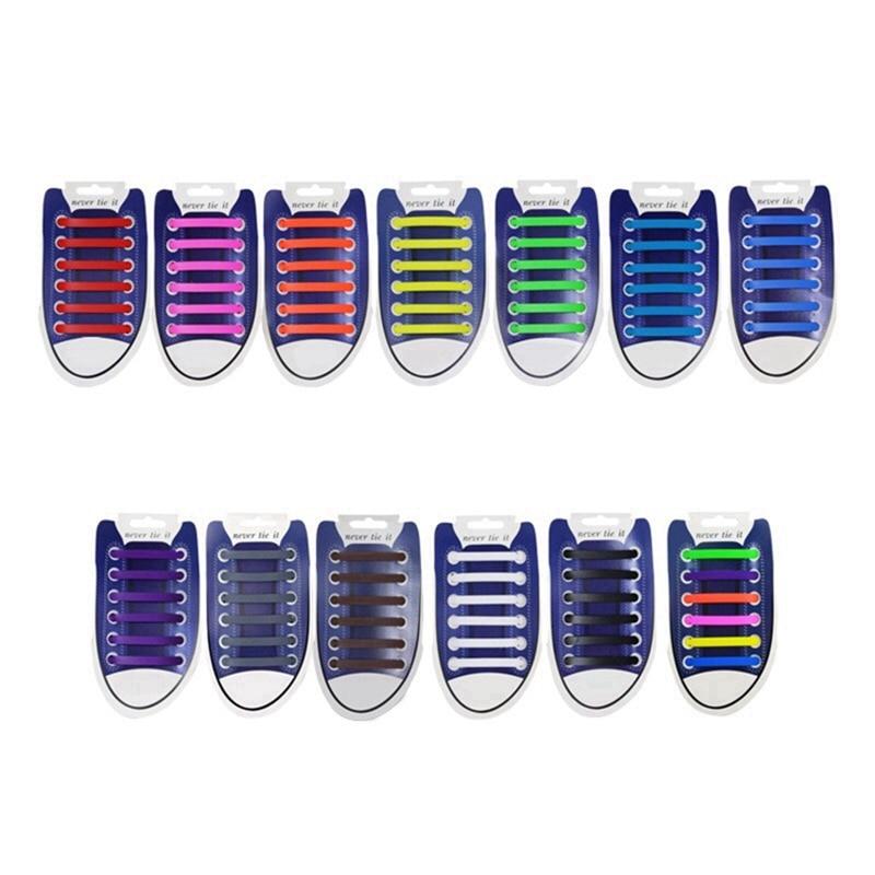 No Tie Shoe Laces Elastic Silicone Shoelaces Leisure Sneakers Unisex Rubber Shoe Lace Child Adult Quick Safety Lazy Laces 12 Pcs