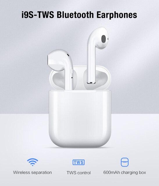 I9s Tws słuchawki bezprzewodowe Bluetooth 5.0 słuchawki Mini słuchawki douszne z mikrofonem etui z funkcją ładowania sportowy zestaw słuchawkowy do smartfona
