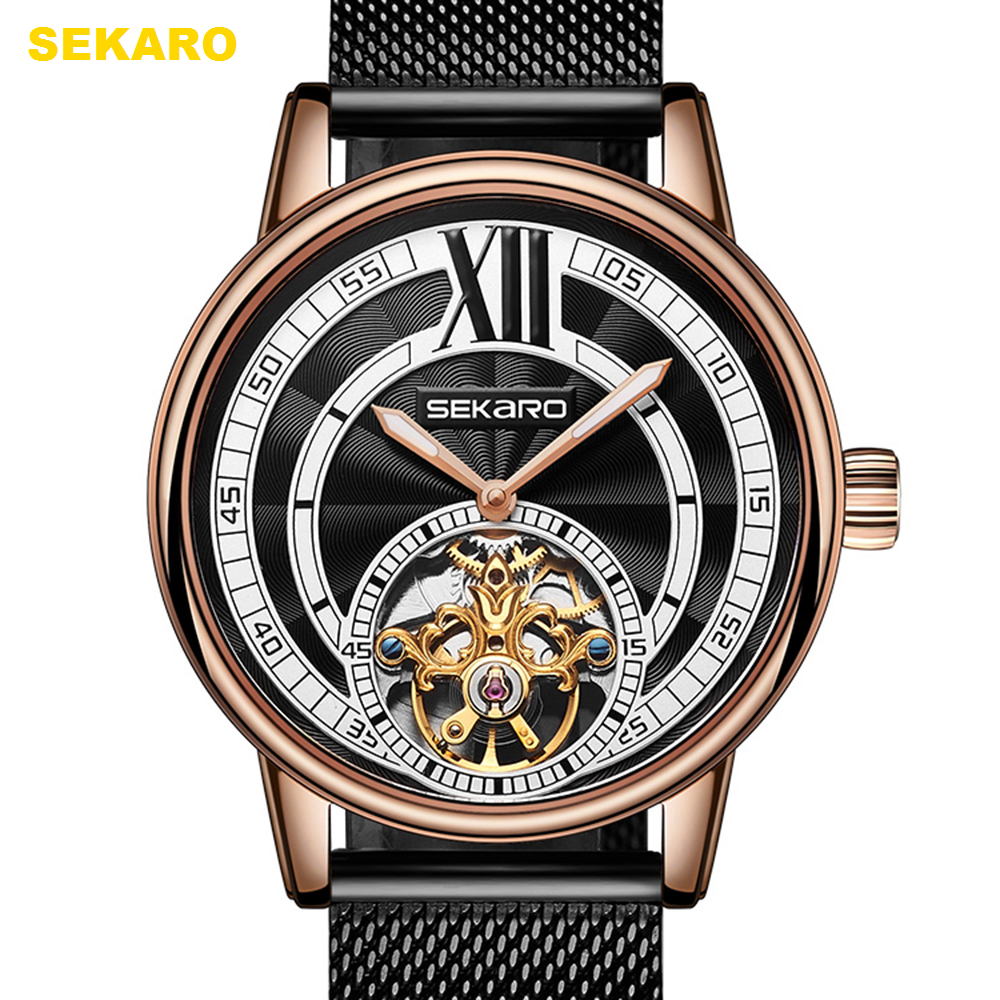 Watches Mens Fashion Automatic Mechanical Watch Men Tourbillon Stainless Steel Waterproof Watch Top Brand Luxury Watches Men New