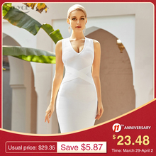 Dress Sexy Bodycon Bandage Tank-White Evening-Runway Summer Women Celebrity V-Neck Sleeveless