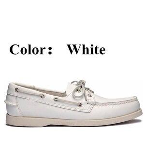 Image 5 - 남자 진짜 가죽 운전 신발, 새로운 패션 Docksides 클래식 보트 신발, 브랜드 디자인 아파트 남성 여성을위한 로퍼 2019A006