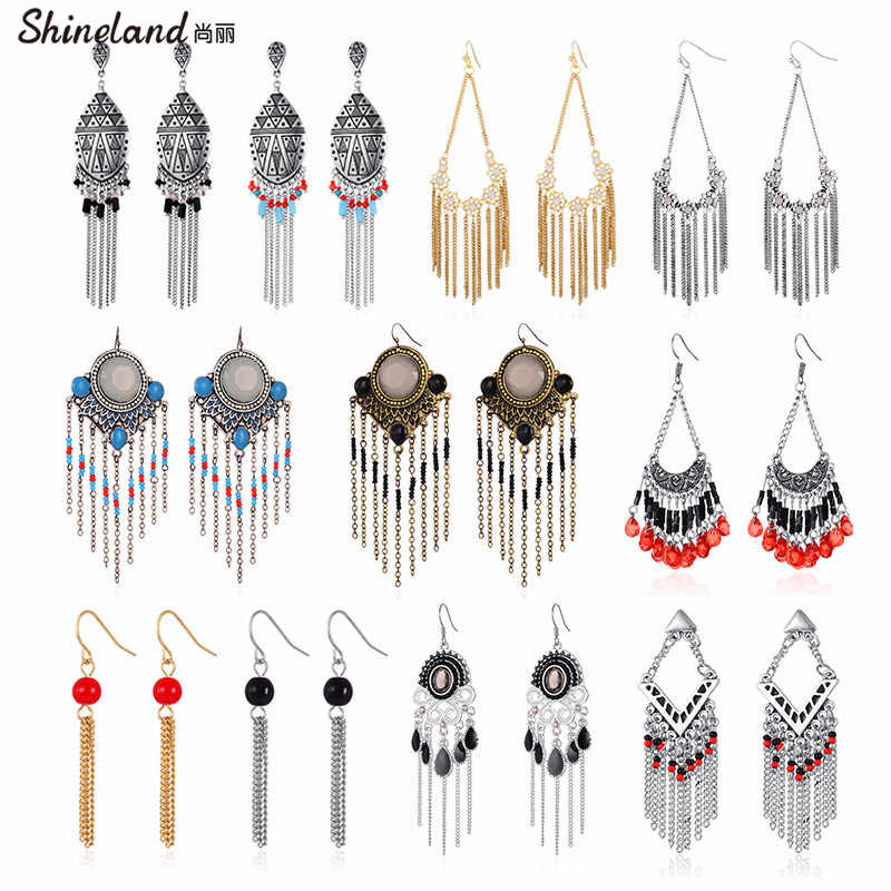 Shineland Cheap Bohemian Ethnic Long Tassel Colorful Beads Drop Dangle Earrings for Women Vintage Fashion Jewelry Gift Wholesale