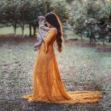 Długa sukienka ciążowa na sesja zdjęciowa Sexy Lace fantazyjne ciążowe suknie z rękawem typu Flare kobiety w ciąży suknia Maxi fotografia rekwizyty