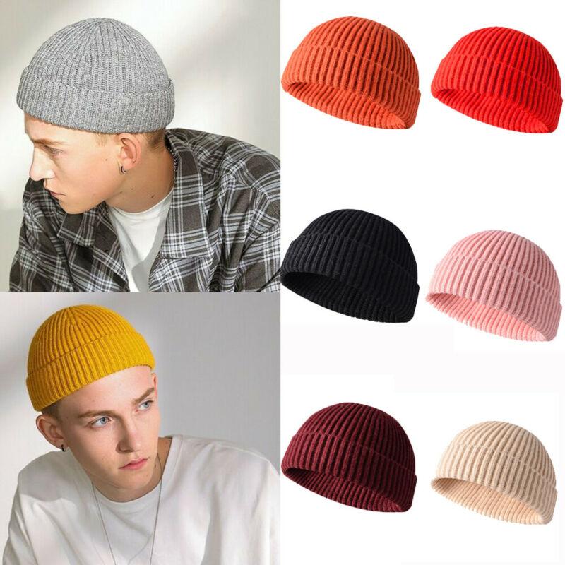 Men Knitted Hat Beanie Skullcap Sailor Caps Cuff Brimless Retro Navy Warm UK