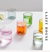6 colori tazze di vetro tazza di vetro resistente al calore tazze di birra striscia di vetro tè ufficio succo di caffè tazza di latte tazze di famiglia