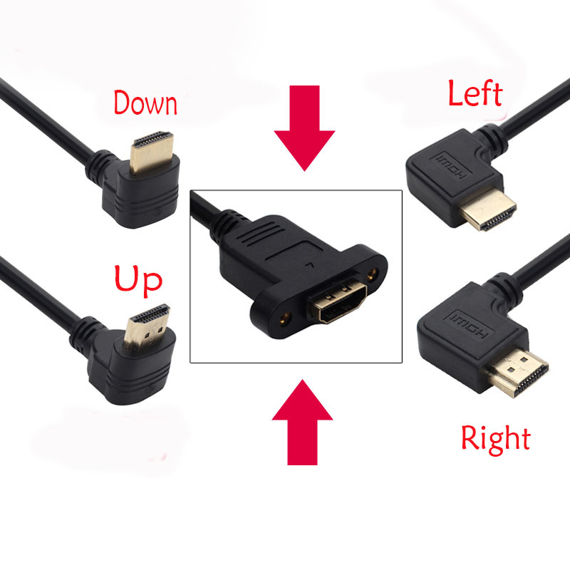 50CM HDMI 2.0 4K*2k Cable 60Hz HDMI 2.0V V2.0 Right Left Up Down Angle Male To Female Panel Mount With Screws HD Extension Cable