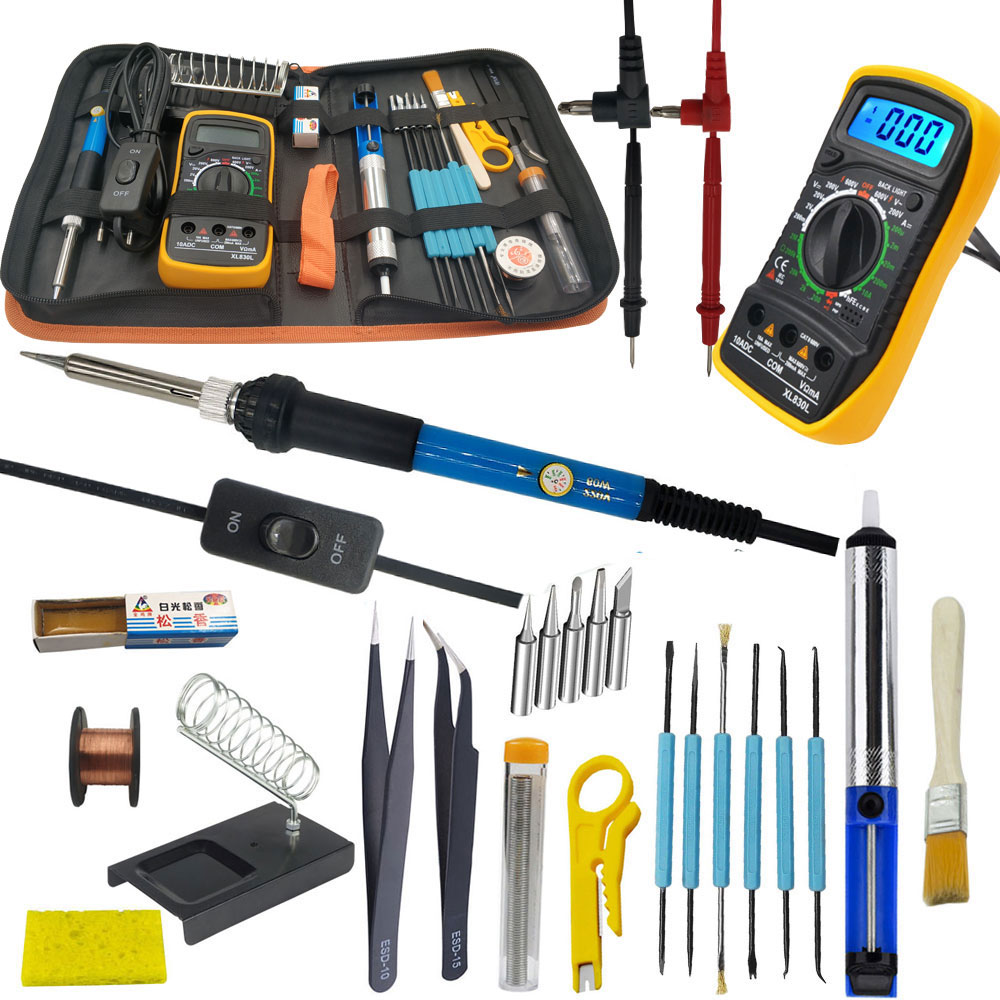 60W Electric Soldering Iron Kit With Multimeter For Electronics Soldering Iron Set Adjustable Temperature 110V 220V Tool Kit