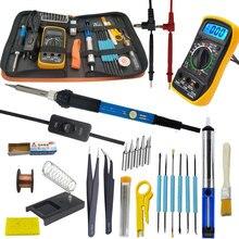60W Elektrische lötkolben kit mit multimeter für elektronik löten eisen set einstellbare temperatur 110V 220V werkzeug kit