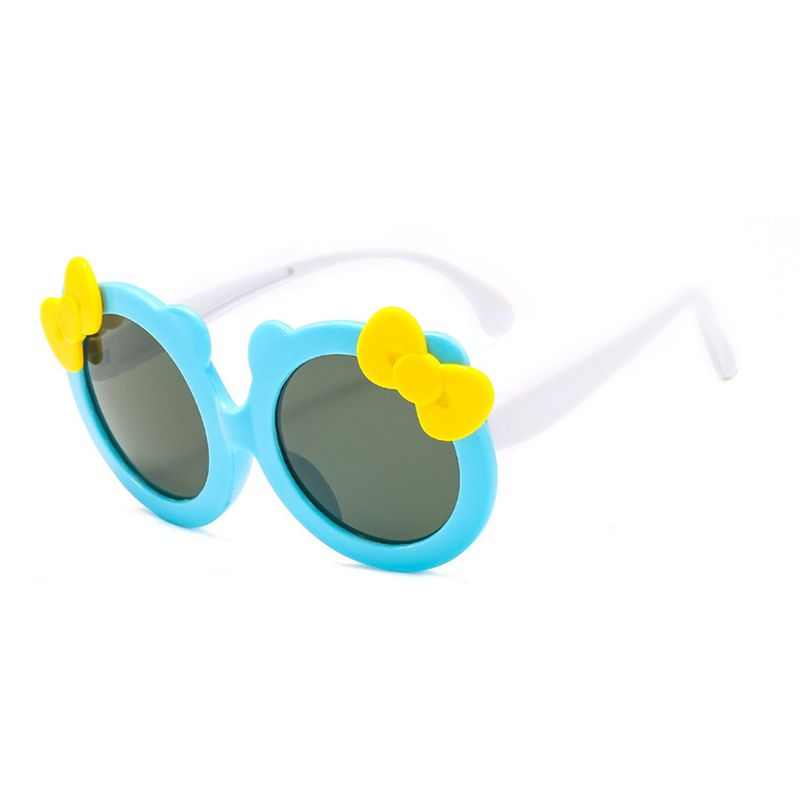 Детские поляризованные солнцезащитные очки для девочек, милые Солнцезащитные очки с бантом, силиконовые защитные очки UV400 - Цвет линз: BL