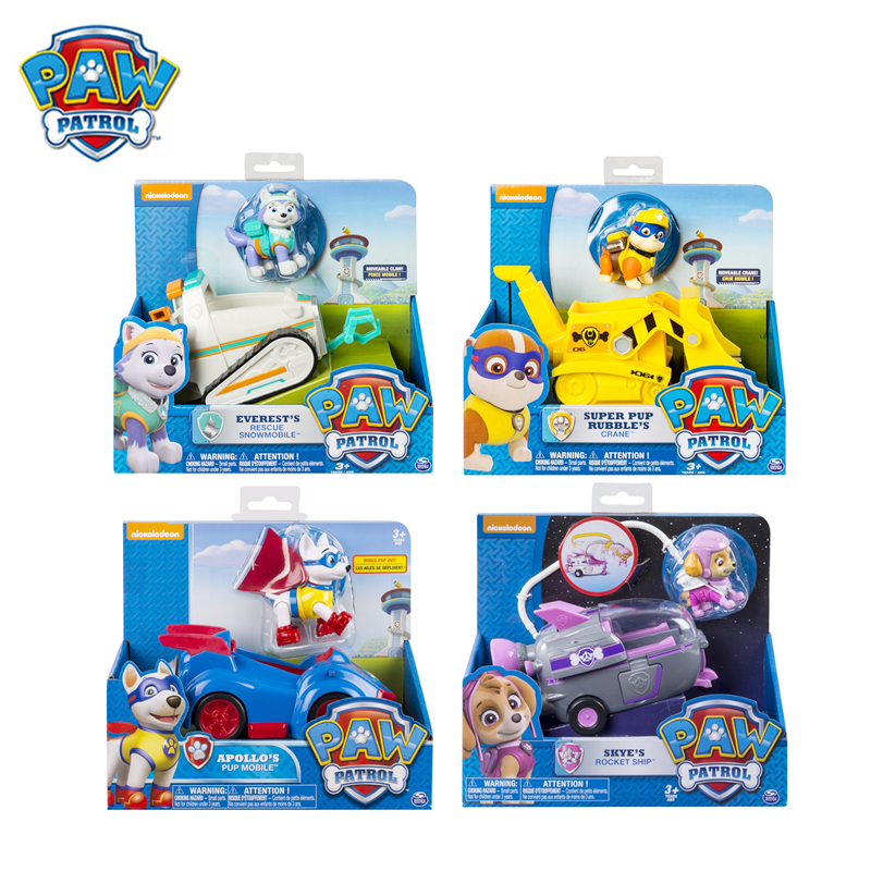 Original Box Paw Patrol New Patrol Everest Apollo Skye Rescue Vehicle Toy Set Action Figure Model Spin Master Toy Kid Xmas Gift