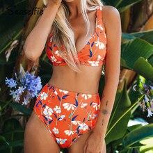 Syelfie Оранжевый Цветочный v-образный вырез бикини наборы сексуальный с высокой талией купальник из двух частей купальники для женщин пляжные купальники