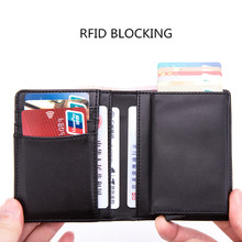 2019 New Genuine Leather Men Wallet RFID Blocking Metal Case ID Card Holder Mini Wallet Automatic Credit Card Coin Purse brand new slim credit card holder mini wallet mens leather id case coin purse bag pouch carteira masculina gift