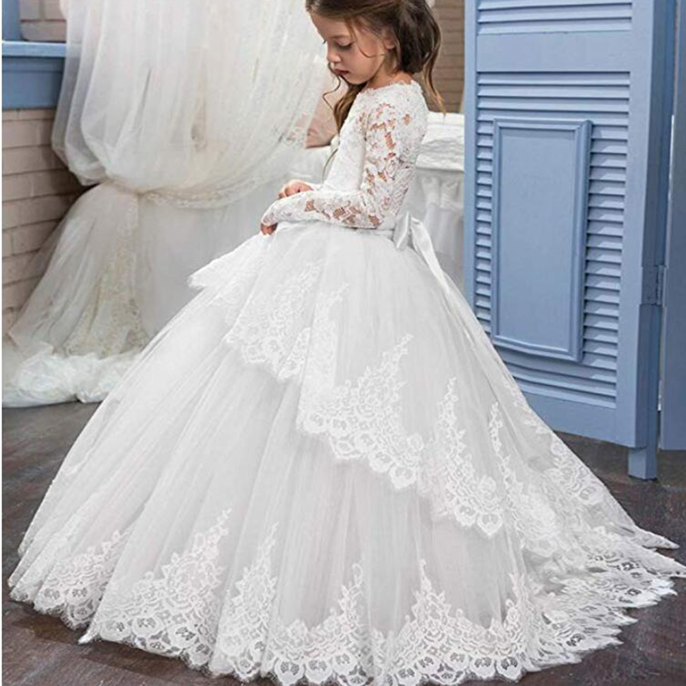 Free Shipping Ivory Flower Girl Dresses For Weedings Floor Length First Communion Party Dress Long Sleeves Girls Ball GownTeens