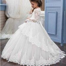 Free Shipping Ivory flower girl dresses For Weedings Floor Length first communio