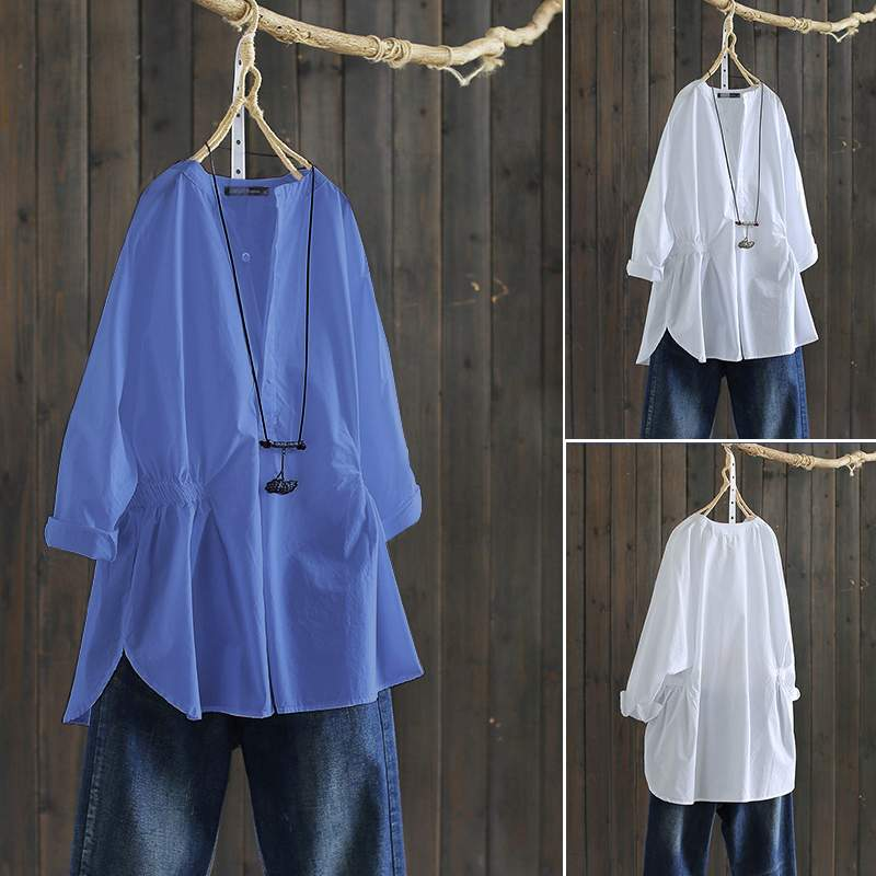 ZANZEA 2020 Vintage Women Elastic Waist Shirts Casual Long Sleeve Blouse Female Cotton O Neck Buttons Tunic Tops Chemiser Mujer