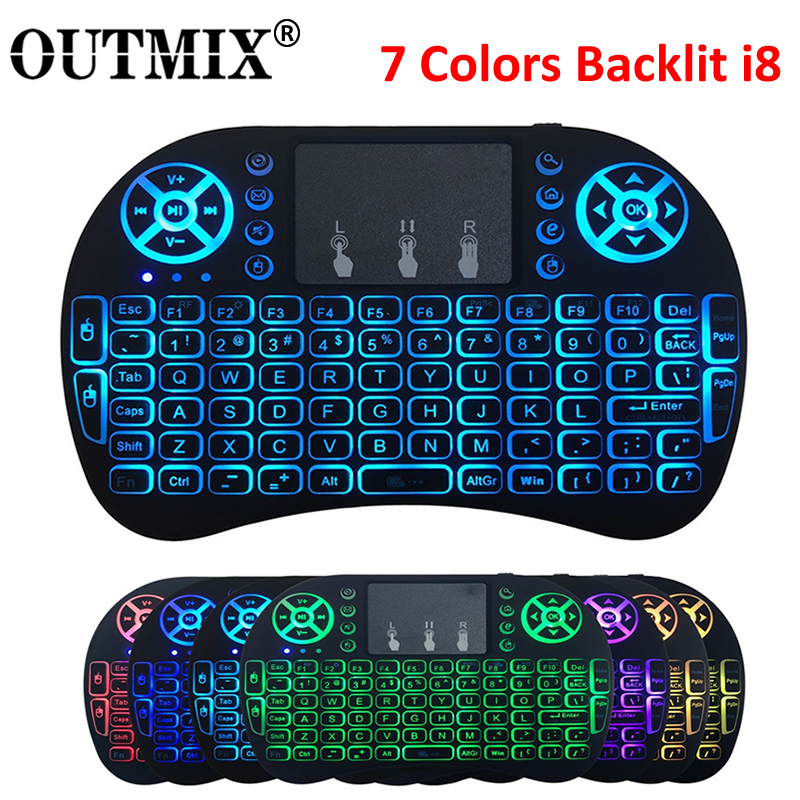 7 Colors Backlit I8 Keyboard Backlit English Russian Air Mouse 2.4GHz Wireless Keyboard Touchpad Handheld For TV Box H96 Max PC