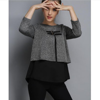 autumn and winter ladies tops Women's clothing plus size Casual fashion full sleeve Fake two piece sweater T shirt X055
