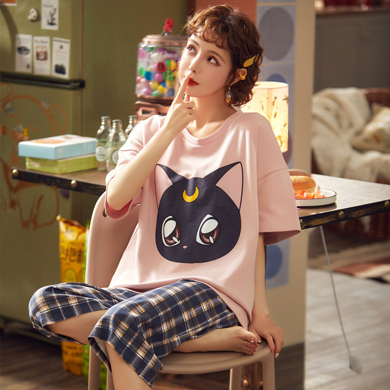 Cartoon Short-sleeved Doll Collar Cotton Korean Simple Loose Can Wear Outside Princess Style Sweet Cute Pajamas Set Sleep Wear