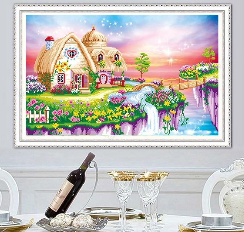 5D алмазная живопись «сделай сам», пейзаж, дом, вышивка крестиком, украшение для дома, вышивка, пейзаж, ручная работа, подарок