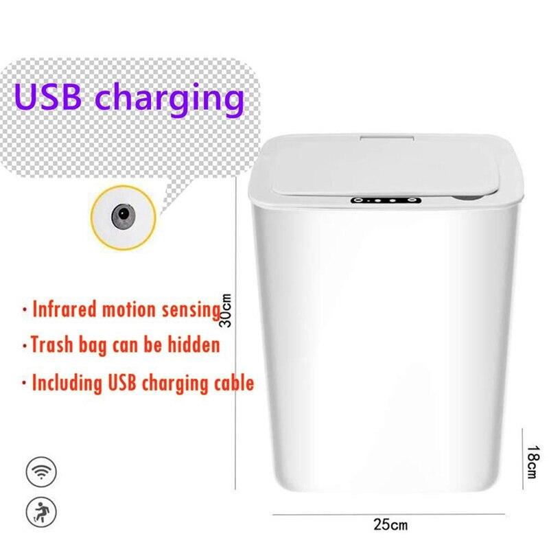 Sensor Prullenbak, Keuken Contactloze Vuilnisbak Met Deksel, batnroom Usb Opladen Smart Vuilnisbak Afvalbak Wit 14L 6