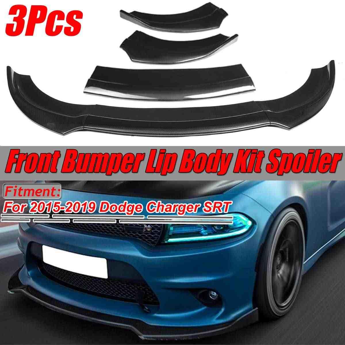 New Carbon Fiber Look Black Car Front Bumper Splitter Lip Body Kit Spoiler Diffuser For Dodge For Charger Srt 2015 2019 Bumpers Aliexpress
