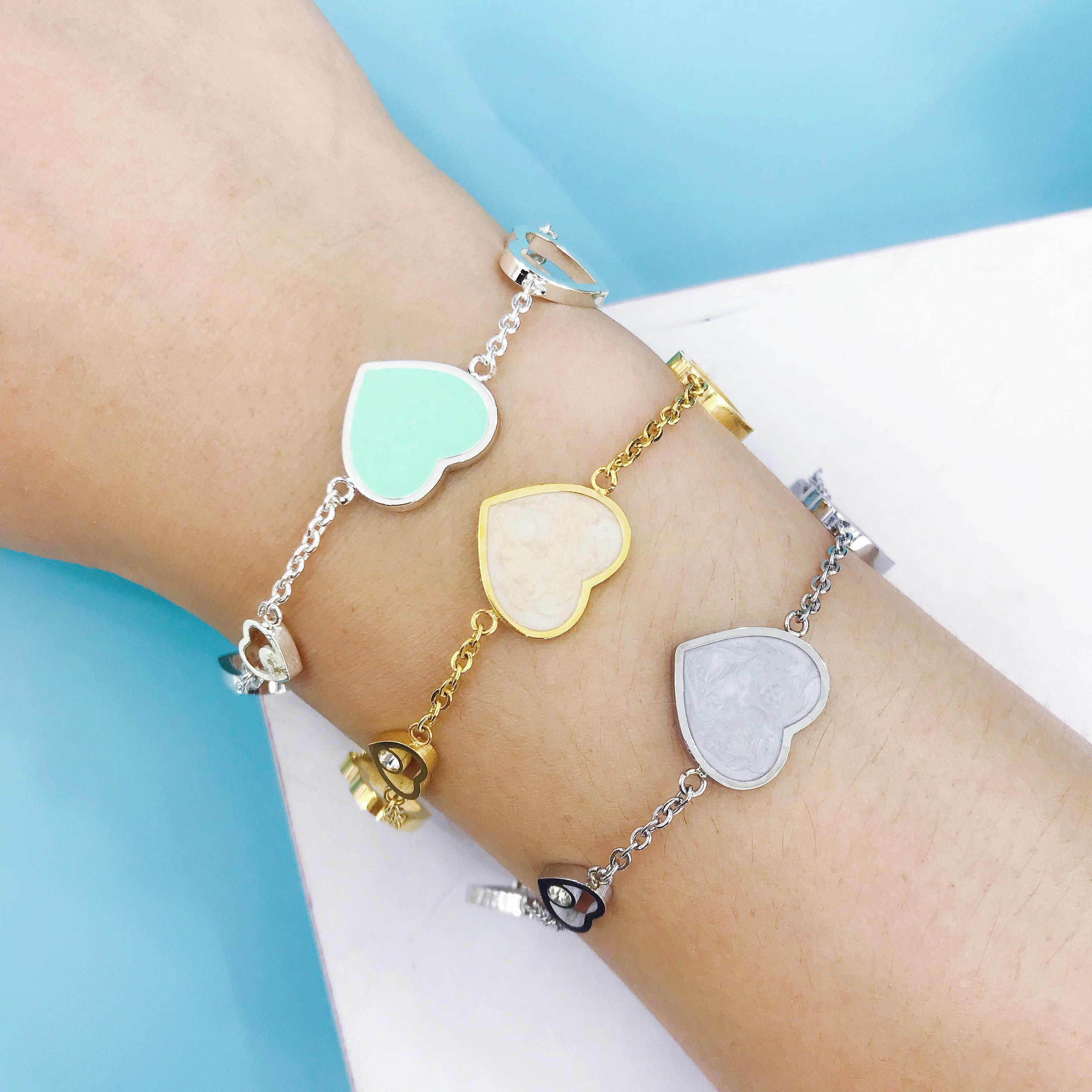 New Fashion Heart Shaped Gold Silver Pendant Bracelet Jewelry Charm Brand Bracelet Design For Women Fine Jewelry|Strand Bracelets| |  - title=
