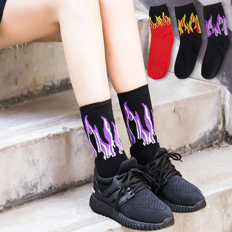 Hip Hop Hit Men Fashion  Color On Fire Crew Socks Red Flame Blaze Power Torch Hot Warmth Street Skateboard Socks Wowen Socks