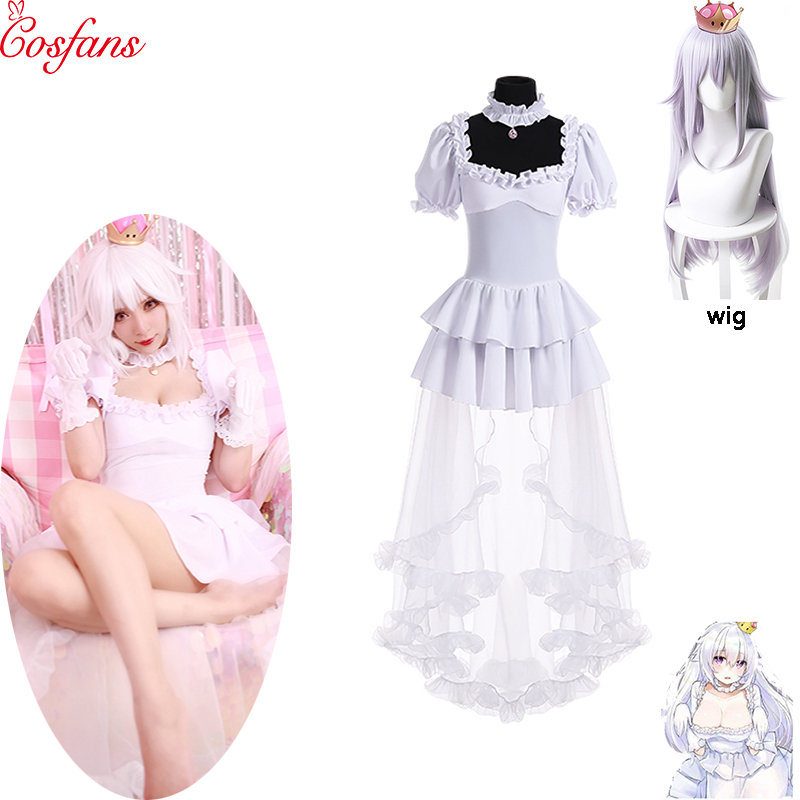 Boosette Cosplay Costume Bowsette Cosplay Princess Koopa White Costume Women Long Dress Ball Gown Retro Medieval Dress And Wig