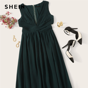 Image 5 - SHEIN Green Plunge Neck Crisscross Waist Ball Dress Elegant Plain Fit and Flare Dress Women Autumn Modern Lady Party Dresses