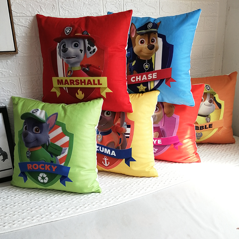 Paw Patrol Cushion Cover Cute Cartoon Pattern Pillow Cushion Car Pillow Child Bedroom Nap Pillowcase Sofa Kindergarten Gift