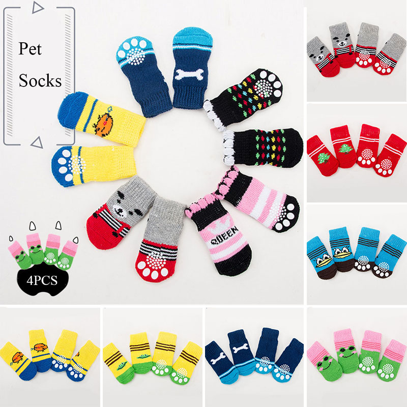 4pcs Winter Pet Dog Shoes Anti-Slip Knit Socks Small Dogs Cat Shoes Chihuahua Thick Warm Paw Protector Dog Socks Pet Products