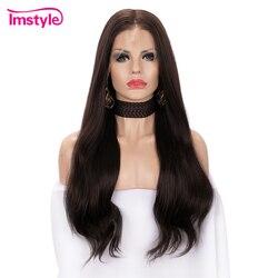 Imstyle 13x6 Grote Kant Voor Pruik Lang Bruin Synthetische Lace Front Pruik Natuurlijke Haarlijn Hittebestendige Vezel Dagelijks pruik Voor Vrouwen