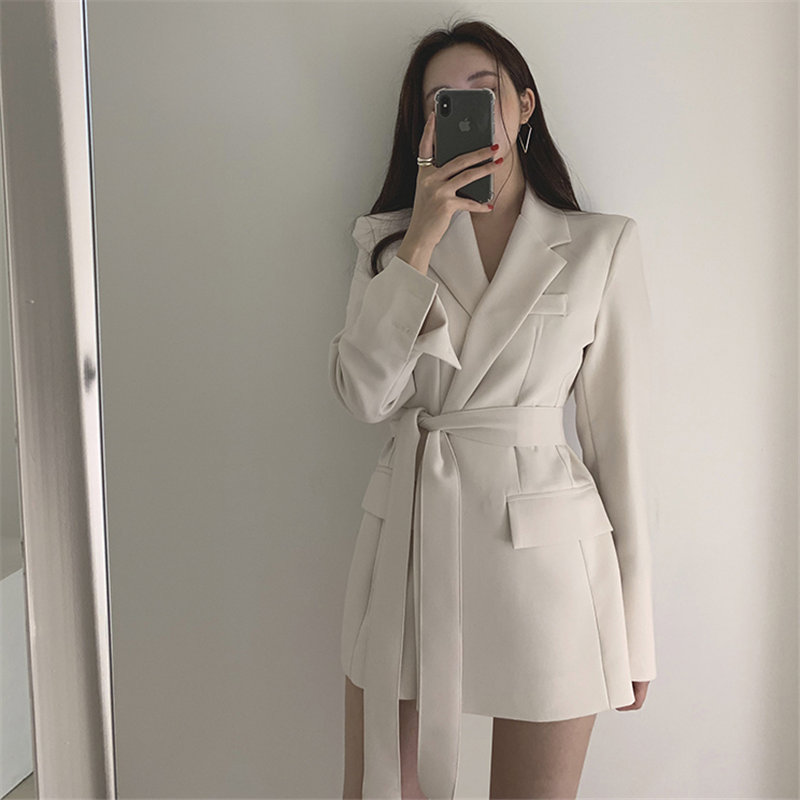 HziriP Korea Vintage Sashes Belt Large Size Office Lady Feminine High Street Loose All Match Slender Women Elegant Blazers