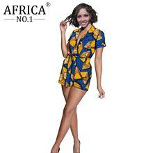 2021 Африканский Модный комбинезон с поясом для женщин летний