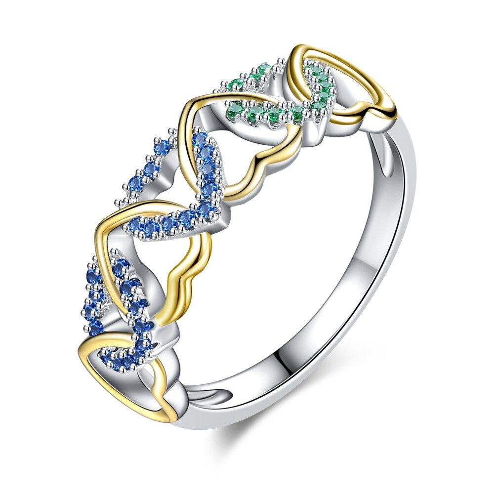 LS1345 Populaire twee kleur ring kleur micro inlay gewikkeld hartvormige paar ring