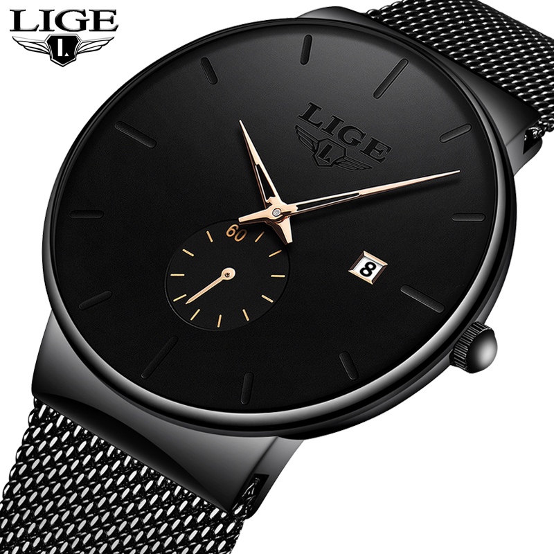 LIGE 2019 Fashion Mens Watches Top Brand Luxury Quartz Watch Men Casual Slim Mesh Steel Waterproof Sport Watch Relogio Masculino