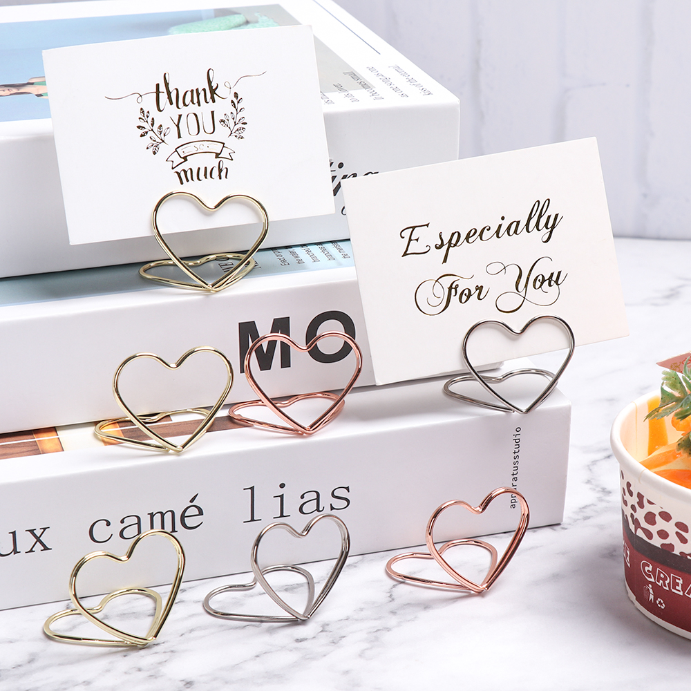 1Pcs Heart Shape Place Memo Card Holder Lovely Wire Table Number Holders With Base For Wedding Banquet Party Decorations