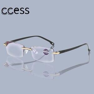 2020 Frameless Square Reading Glasses for Men Women's Anti Blue Light Computer glasses Far Sight Presbyopia Reader Glasses Women