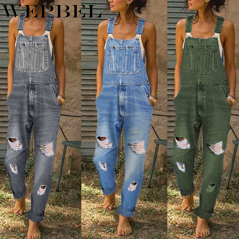 WEPBEL Plus Size Jeans Women Washed High Waist Denim Trousers Button Pocket Overalls Loose Streetwear Pants S-5XL