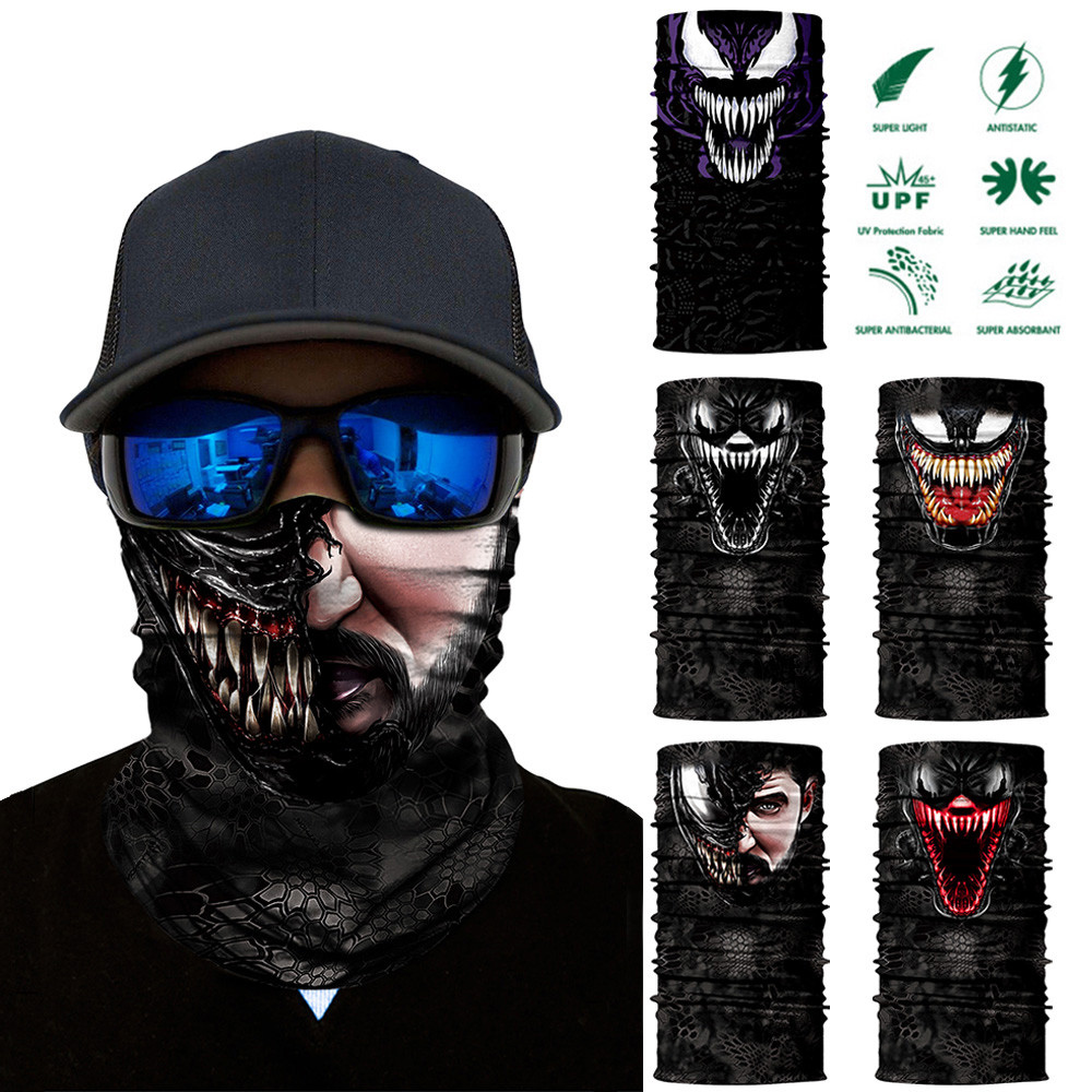 Bandana Face-Mask Jokers Venom Snowboard Neck-Buffs Winter Balaclava Deadpool 3D Seamless title=