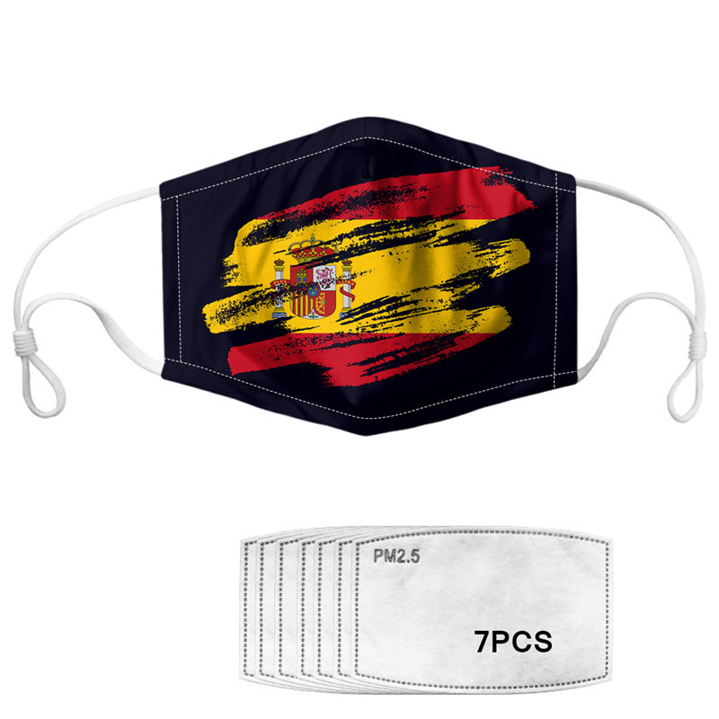 INSTANTARTS Spanish Flag Printed Face Masks Mouth Cover  Mascara  With 7pcs PM 2.5 Filter Paper Anti Dust Haze Mascarillas 2020