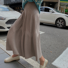 2021 Autumn Winter Thick Long Knit Skirt Womens Casual High Waist Pleated Skirts Ladies Wide-Swing Midi Skirt jupe plissee femme