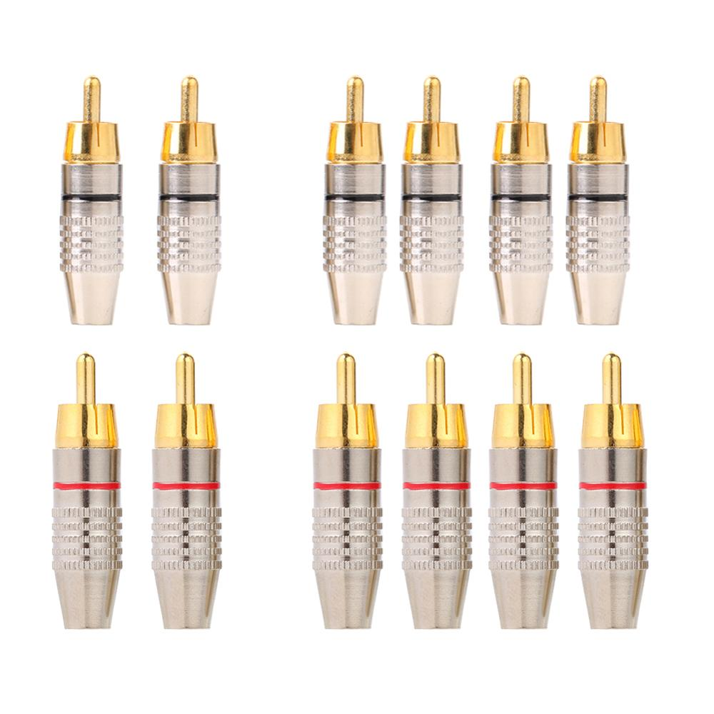 2/4/10pcs DIY RCA Speaker Adapter Plug Audio Video RCA Soldering Connector Plug Speaker Terminal Video Locking Cable RCA Stecker