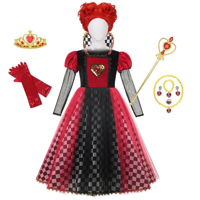Red Queen of Hearts Princess Dress Alice In Wonderland Cosplay Fancy Dress Delux Party Girls Halloween Carnaval Cosplay Costume