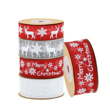 10Meters 25mm Christmas Decoration Organza Ribbon Printed Merry Ribbons for DIY Gift Wrapping