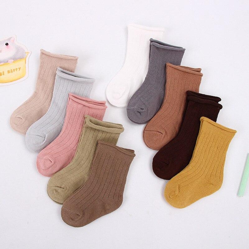 5 pares/set 0-9years bebê crianças meias da criança algodão meias meninos menina toda a temporada curto recém-nascido com nervuras meias cor doce sólido
